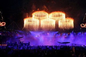 London 2012 Opening Ceremony Olympic rings aglow