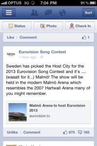 Twitter announcement that Malmo will host Eurovision 2013