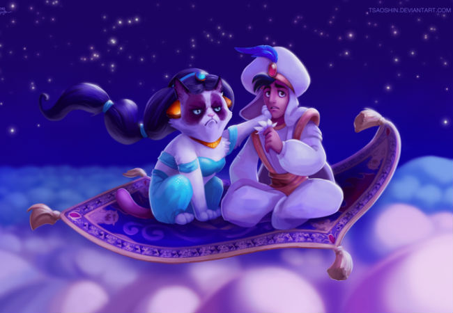 """A Whole New No"" - Grumpy Cat joins Aladdin on his magical flying carpet ... and clearly isn't happy about it (image via laughingsquid.com (c) TsaoShin aka Erik Proctor)"