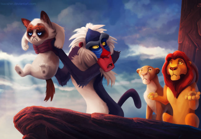 The Circle of No ... Grumpy Cat has little time for the inspiring tale of The Lion King (image via laughingsquid.com (c) TsaoShin)