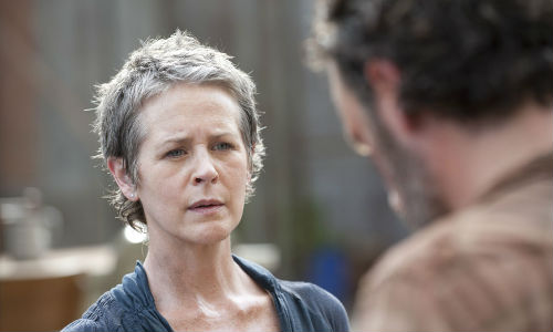 Carol finds herself carrying the weight of the world on her shoulders, especially after Rick asks her what she wouldn't do for the good of their beleaguered group (image via comicbookmovie.com (c) AMC)