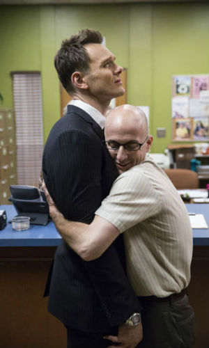 The great simmering love affair between Jeff Winger (Joel McHale) and the Dean (Jim Rash) continues ... well at least in the Dean's mind as least (image via hitfix.com)
