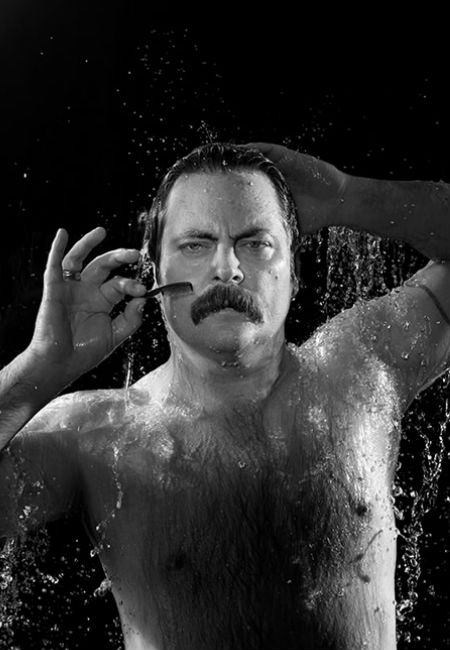 Nick Offerman loves his mo' (as does wife Megan Mullally) and isn't afraid to use it for a good cause (image via homorazzi)