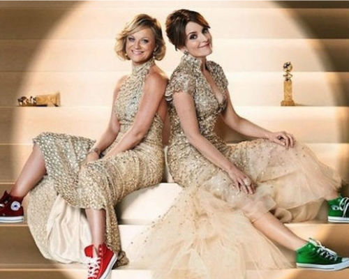 Amy Poehler and Tina Fey dress it up AND dress it down all at once in this playful promo shot for the 2013 Golden Globes Awards (image via croweknees.com)