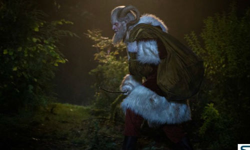 The version of Krampus used in Grimm cleaves closely to the traditional image of the creature who stalked around towns with his sack, kidnapping wayward, misbehaving children and taking them back to his lair (image via seriable.com (c) NBC)