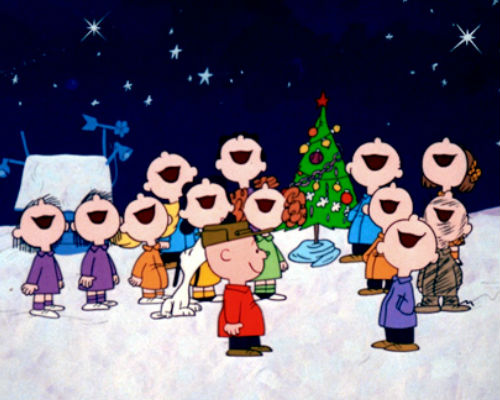 The Peanuts gang get into the spirit of the season in A Charlie Brown Christmas (image via padresteve.com (c) Peanuts / Charles M. Schulz)