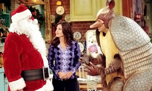 "Santa Claus and the Holiday Armadillo fight it out for dominance in the Friends episode ""The One With the Holiday Armadillo"" (14 December 2000) till they all realise time spent with family and friends is more important than anything else (image via lindsayalexis.com (c) NBC)"