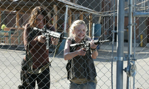 Their grief and fury understandable and completely warranted, Maggie and Emily open fire on the Governor's latest bunch of hapless lambs to the slaughter (image via digitalspy.com (c) AMC/Gene Page)