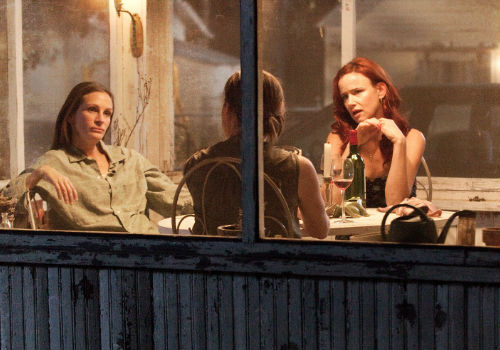 A rare moment of sisterly bonding doesn't stay that way for long with the fractures between hard nosed Barbara, loyal but exhausted Ivy and out of touch spacey Karen rupturing in spectacular fashion shortly thereafter (image via augustosagecounty.com)