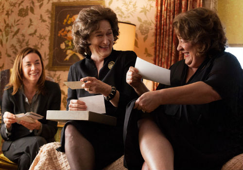 In one of the rare scenes of good humour in the movie, Ivy, mother Violet and Mattie Fae reminisce about some of the good times they have enjoyed ... or at least pretend ones they pretend existed (image via augustosagecountyfilm.com)