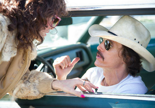 Rayon (Jared Leto) and Ron Woodruff (Matthew McConaughey) become unlikely allies, and friends, in their desperate race to hang onto life for as long as possible (Photo Credit: Anne Marie Fox / Focus Features / image via focusfeatures.com/dallasbuyersclub)