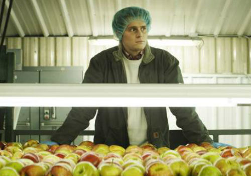 Jonathan Groff tries in vain to find salvation through apples ... perhaps oranges next time instead? (image via crushable.com)