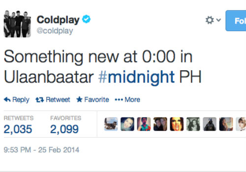 Coldplay Midnight announcing tweet