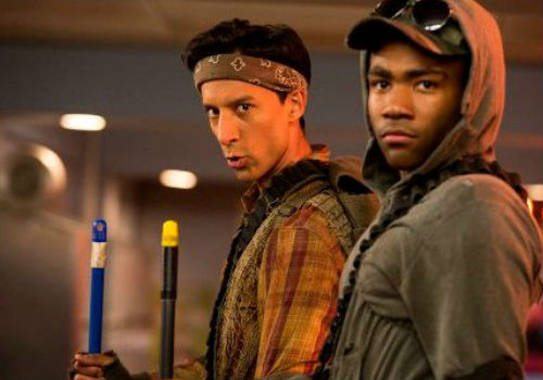 Abed doesn't want Troy to go but can't bring himself to say it so gets the Dean permission for a campus game of Hot Lava and the reslts are predictably, hilariously, loopy (image via blog.zap2it.com (c) NBC)