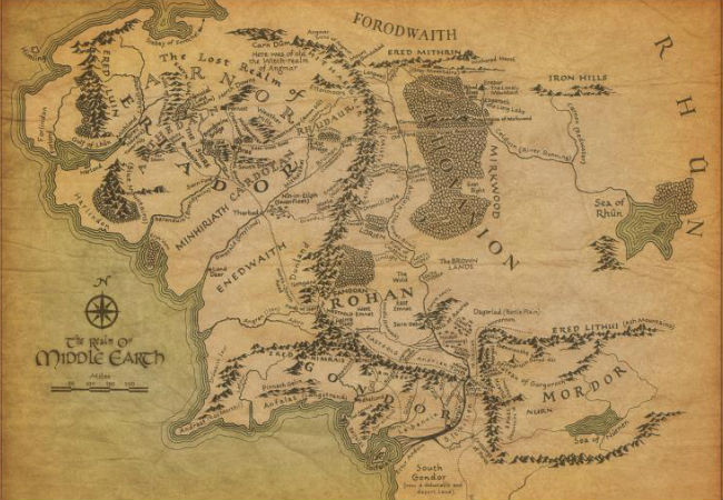 A map of Middle Earth (image via blastr.com)