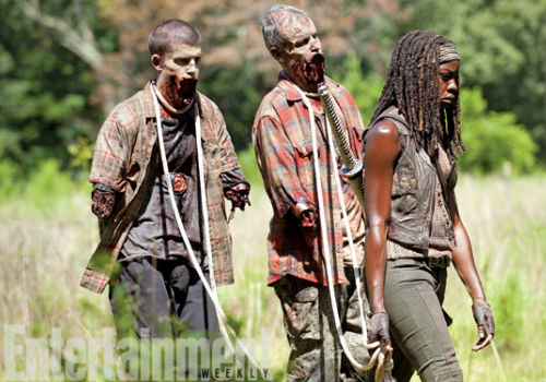 Michonne is in shock, walking and slaying on auto pilot, only coming alive at the end of the episode (image via screencrush.com (c) AMC)