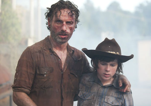 Rick and Carl's father/son bonding day didn't quite go as smoothly, or blood free, as planned (image via ign.com (c) AMC)