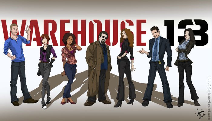 """Wonderful fan art by ofpink who had this to say about Warehouse 13: """"I am obsessed with Warehouse 13. Love Pete and Myka's hilarious """"chemistry"""", and Claudia is a bamf. Steve is so adorable, he keeps reminding me of Bobby from Xmen... and Leena is also so cute~ H.G. Wells is so boss, I wish I knew her in real life. And ARTIE!! Love him so much, with his hip earth-tone wardrobe."""" (image via ofpinl.deviantart.com)"""