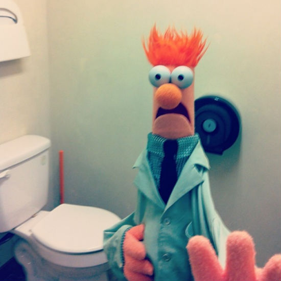 The ever highly strung Beaker surprised where he least likes it (image via The Muppets official Instagram account (c) Disney)