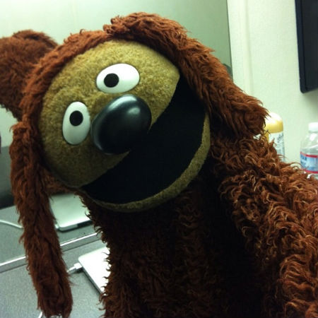 """Rowlf the Dog, paw extended in typical selfie fashion, greeting The Muppets many Instagram followers with """"What's up dogs? #LOL"""" (image via The Muppets official Instagram account (c) Disney)"""