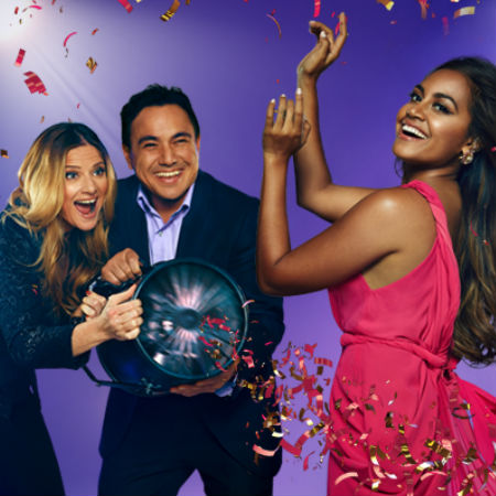 SBS Eurovision telecast hosts Julia Zemiro and Sam Pang prime Jessica Mauboy with the almost obligatory wind machine (image via official SBS Eurovision Facebook page (c) SBS)