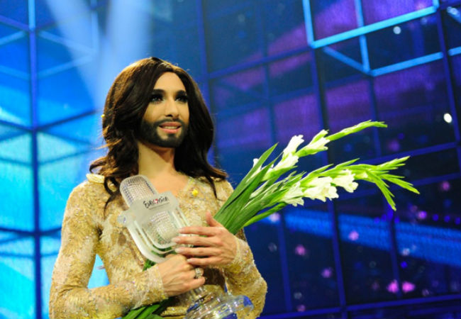 Conchita Wurst at the moment of sweet victory (image via Eurovision.tv (c) Sander Hesterman (EBU)