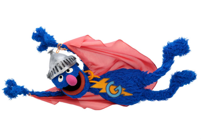 It's Super Grover off to save the day! (image via and (c) Sesame Street Twitter feed)