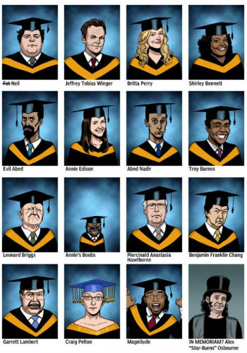 The Gang from Community have graduated at last en masse ... though of course no one wanted them to (image via Multiversity Comics (c) Chip Zdarsky)