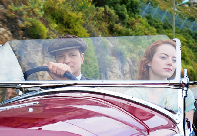 Colin Firth and Emma Stone star in Magic in the Moonlight (image via emstonesdaily, via gwen-stone)