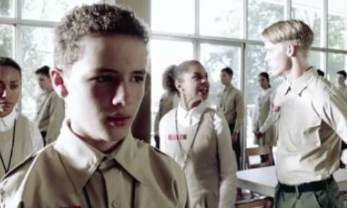 Matt Mason holds his tongue and bides his time as other less temperate kids lose their cool and refuse to toe the Espheni line (image via Science Fiction.com (c) TNT)