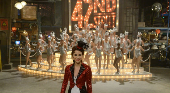 Claudia's defining moment was a gem - beset by an army of relentless showgirls, she defeats them by the power of tap dancing and a couple of handily-used Broadway artefacts (image via official Warehouse 13 site (c) syfy)