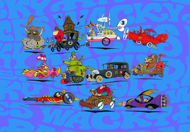 All the member racing teams of Hanna-Barbera's Wacky Races (image via Dan Dare (c)  Warner Bros)