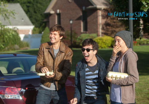 Sometimes the only way to handle awful news is to either break basketball trophies or in this tension-relieving scene, throw eggs at a cold ex-girlfriend's car (image via official The Fault in our Stars movie site)
