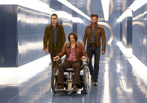 Wolverine discovers that getting Charles back on the mutant bandwagon takes a lot more effort, and lot more tussling with Hank/Beast (Nicolas Hoult, left) than he bargained for (image via X-Men Days of Future Past official site)