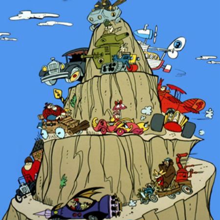 The 11 contestants in The Wacky Races find themselves in yet another hilariously over the top racing situation (image via Big Sur (c) Warner)