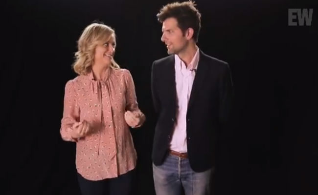 Amy Poehler and Adam Scott are among the many famous faces lending their support to this vitally important campaign (image via YouTube (c) EW)