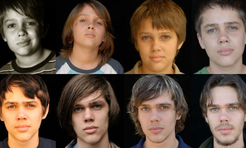 The many faces of Mason Jr (Ellar Coltrane) as he grows up over a 12 year period in Richard Linklater's remarkable film Boyhood (Photographs by Matt Lankes/IFC Films via Mother Jones)