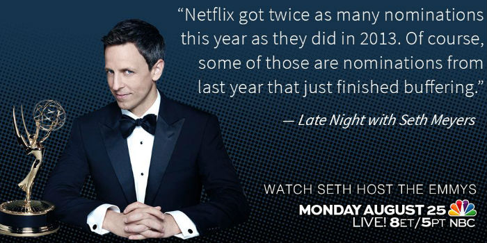 Seth Meyers was definitely the man for the job - hilarious! (image via @LateNightSeth (c) NBC / Emmys)