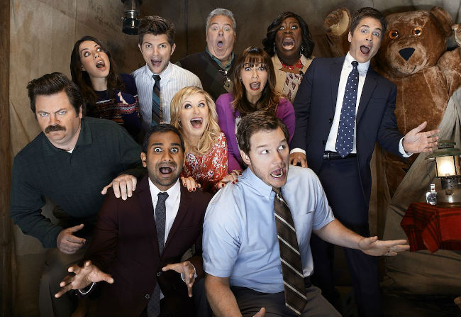 Rob Lowe and Rashida Jones may have flown the Parks and Recreation coop but everyone else will be back for the sitcom's 7th and final season on NBC (image via HitFix (c) NBC)