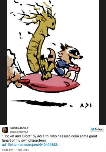 Rocket and Groot channel the rambunctious energy and joy of Calvin and Hobbes in this brilliant piece of art by and (c) Adi Fitri (image via @saladinahmed Twitter feed via The Mary Sue)