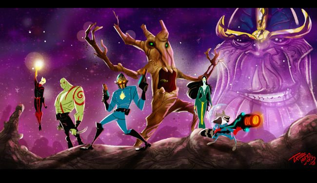 A stellar example of the amazing fan art being created in honour of Guardians of the Galaxy - this one by  and (c) themico at DeviantART