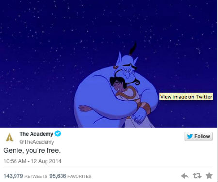 (image via official Academy Award Twitter account)