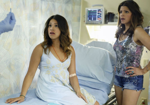 """Jane (Gina Rodriguez) is stunned to learn she is pregnant as is pretty everyone she knows from her mother Xiomara (Andrea Navedo) who believes her daughter is the bearer of the """"Immaculata"""", abuela Alba (Ivonne Coll) and long suffering but head over heels in love boyfriend Mike (Brett Dier)"""