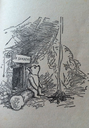 One of the gorgeous illustrations by E. H. Shepard that fill Winnie the Pooh