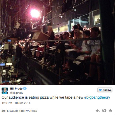 The audience for a taping of The Big Bang Theory get into their pizzas (image via official Bill Purdy Twitter account)