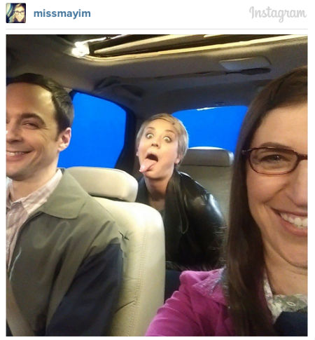 Hot the virtual blue screen road (image via official Mayim Bialik Instagram account)
