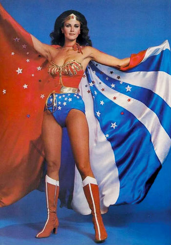 Lynda Carter as Wonder Woman (image (c) Warner Bros Television via Comic Book Brain)