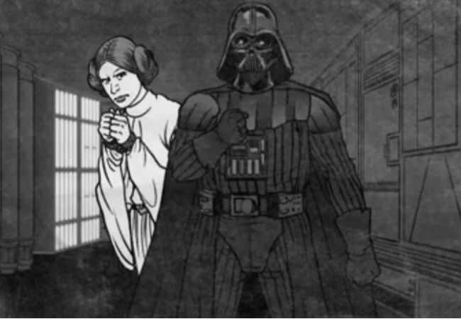 Princess Leia and Darth Vader just hangin' on the Death Star ... you know, as you do (image via and (c) Mashable)