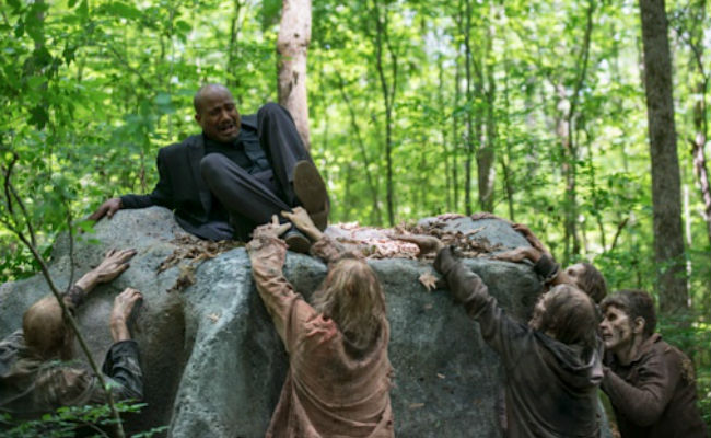 Father Gabriel Stokes (Seth Gilliam) finds himself in a bit of a pickle and without any weapons of any kind wouldn't you know it? (image (c) Gene Page/AMC)