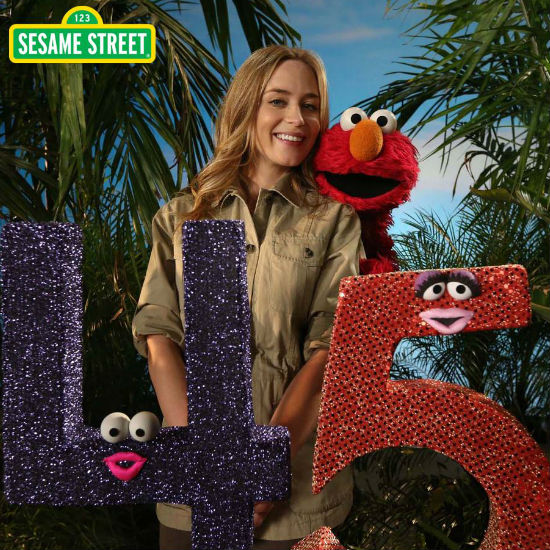 Emily Blunt helps Elmo and the Sesame Street celebrate 45 years of delightfully eduicating the children of the world (image via official Sesame Street Facebook page (c) Children's Television Workshop)